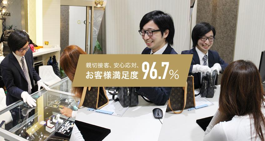 親切接客、安心対応、お客様満足度96.7%