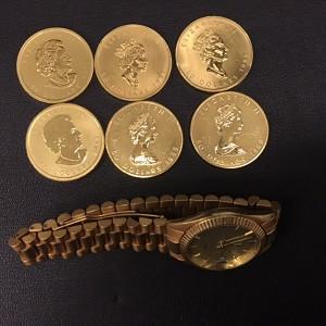 金貨と金時計画像